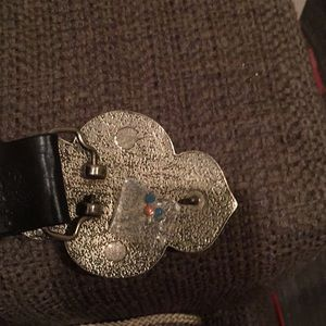 Express Accessories - Leather belt, two center stones missing